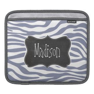 Kall grå färgzebra ränder; Svart tavlalook för iPad Sleeve