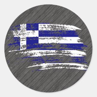 Kall grekisk flaggadesign runt klistermärke