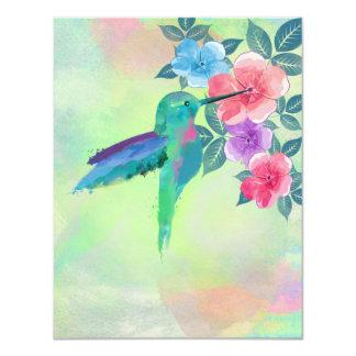 Kall gullig vibrerande akvarellhummingbirdblommigt 10,8 x 14 cm inbjudningskort