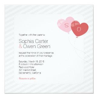 Kall hjärta sväller bröllopinbjudan - kvadrera fyrkantigt 13,3 cm inbjudningskort