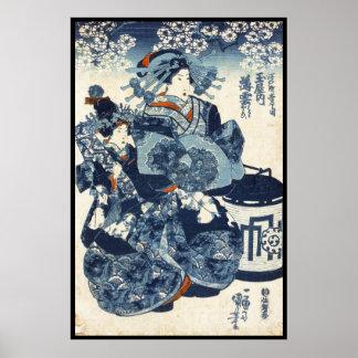 Kall japansk gammal rulla för vintageukiyo-egeisha poster