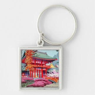 Kall japansk röd tempelvår Asano Takeji Fyrkantig Silverfärgad Nyckelring