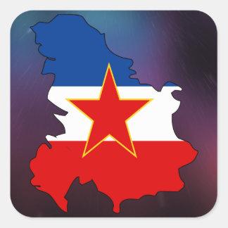 Kall Jugoslavien flaggakarta Fyrkantigt Klistermärke
