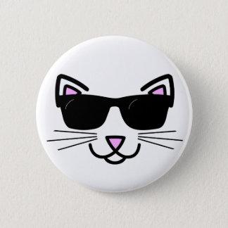 Kall katt med solglasögon standard knapp rund 5.7 cm