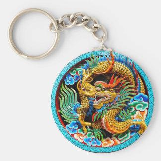Kall kinesisk färgglad konst för drakelotusblommab rund nyckelring