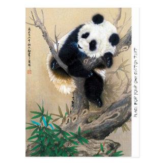 Kall kinesisk gullig söt fluffig konst för vykort