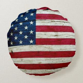 Kall lantlig amerikanska flaggan rund kudde
