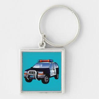 Kall nöd- för barn för design för polisbiltecknad fyrkantig silverfärgad nyckelring