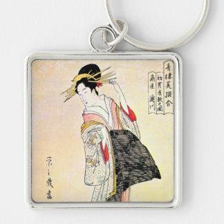 Kall orientalisk japansk konst för klassikergeisha fyrkantig silverfärgad nyckelring