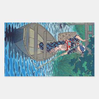 Kall orientalisk japansk kvinna för rektangulärt klistermärke