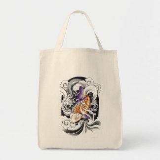 Kall orientalisk tatuering för Koi Carpskalle Mat Tygkasse