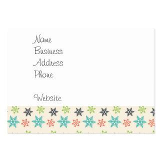 Kall Retro snöflingor för julhelgdagpastell Visitkort