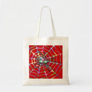 Kall röd spindel på webben budget tygkasse