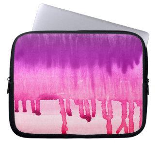 Kall rosa purpurfärgad vattenfärgOmbre design Laptop Fodral