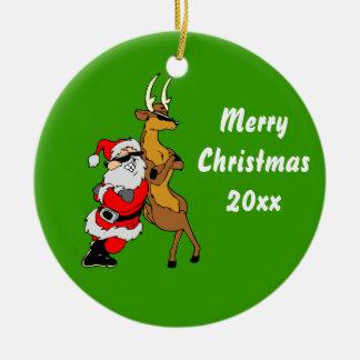 Kall Santa och ren med solglasögon Julgranskulor