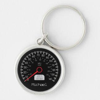 Kall Speedometerpersonlignyckelring Rund Silverfärgad Nyckelring