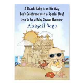 Kall strandbaby showerinbjudan för pojkar 11,4 x 15,9 cm inbjudningskort