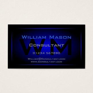 Kall svart & mörk - blåttMonogram - visitkort