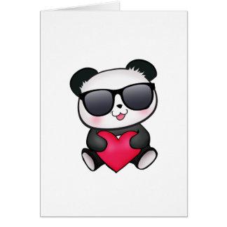 Kall valentin för Pandabjörnsolglasögon hjärta för Hälsningskort