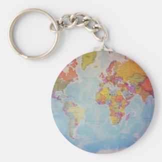 Kall världskarta rund nyckelring