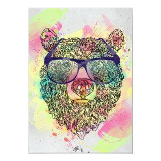 Kall vattenfärgbjörn med exponeringsglasdesign 12,7 x 17,8 cm inbjudningskort