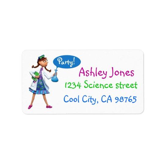 Kall vetenskapsfödelsedagsfest för flickor adressetikett