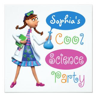 Kall vetenskapsfödelsedagsfest för flickor fyrkantigt 13,3 cm inbjudningskort