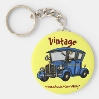 Kall vintage carnyckelringdesign rund nyckelring