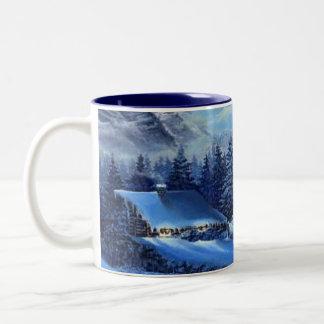 kall vinter varmt kaffe Två-Tonad mugg