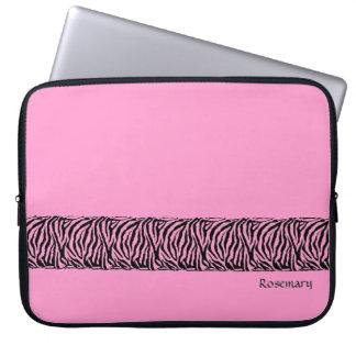 Kall zebra ränder i shock rosa på laptop sleeve laptopfodral