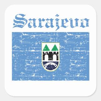 Kalla designer för sarajevo stadsflagga fyrkantigt klistermärke