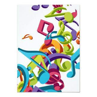 Kalla färgrika musik noter & ljud 12,7 x 17,8 cm inbjudningskort