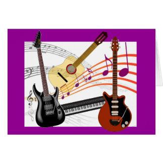 Kalla gitarrer tangentbord och musik noterfödelsed kort