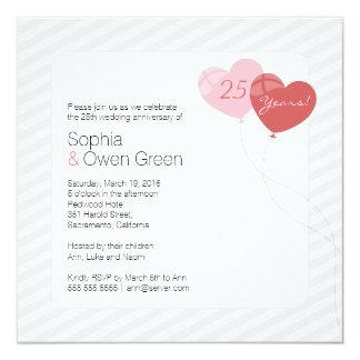 Kalla hjärtaballonger kvadrerar årsdaginbjudan fyrkantigt 13,3 cm inbjudningskort