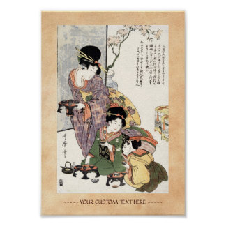 Kalla japanska vintageukiyo-edam och barn poster
