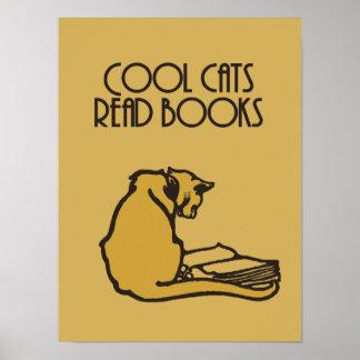 Kalla katter läst retro stil för bokar poster