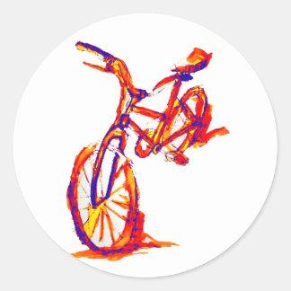 Kalla konstnärliga färgrika cykeldesigner runt klistermärke