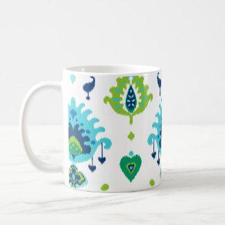 Kalla ljusa blått och grön stam- ikat skrivar ut kaffemugg