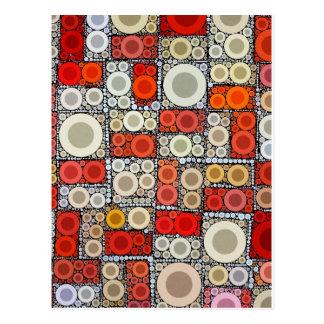 Kalla moderna cirklar den orange röda mosaiken vykort