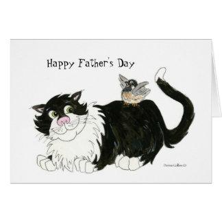 Kallast katt för lycklig fars dag hälsningskort