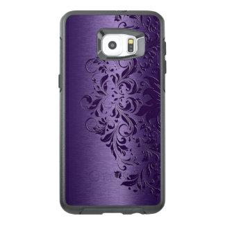Kallt djupt - purpurfärgad bakgrund & blom- snöre OtterBox samsung galaxy s6 edge plus skal