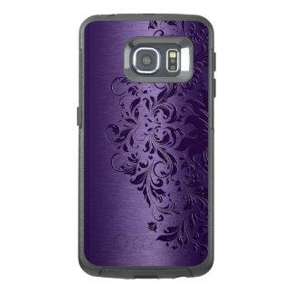 Kallt djupt - purpurfärgad bakgrund & blom- snöre OtterBox samsung galaxy s6 edge skal