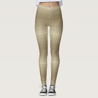 Kallt guld texturerad damasker leggings