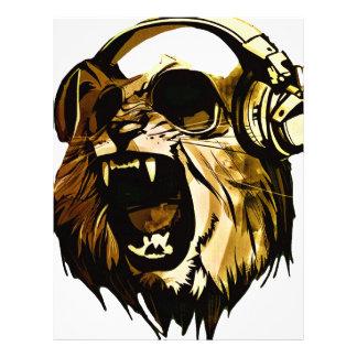 Kallt lejont huvud med exponeringsglas och brevhuvud