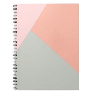 Kallt modernt pastellfärgat färgabstraktmönster anteckningsbok med spiral