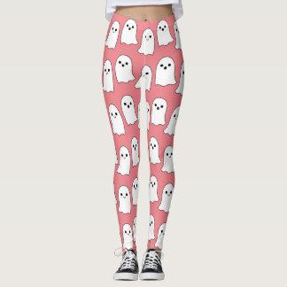 Kallt rosa tecknadspökenmönster leggings