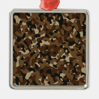 Kamouflageskogsmarkskog (svart, brunt, beigen) julgransprydnad metall