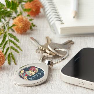 KÄMPEN - Aung San Suu Kyi   beställnings- Keychain Swirl Silverfärgad Nyckelring