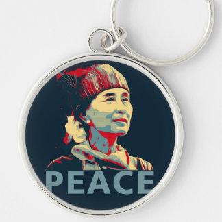KÄMPEN - Aung San Suu Kyi | Keychain Rund Silverfärgad Nyckelring