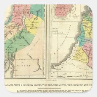 Kanaan - Israel kartbokkarta Fyrkantigt Klistermärke